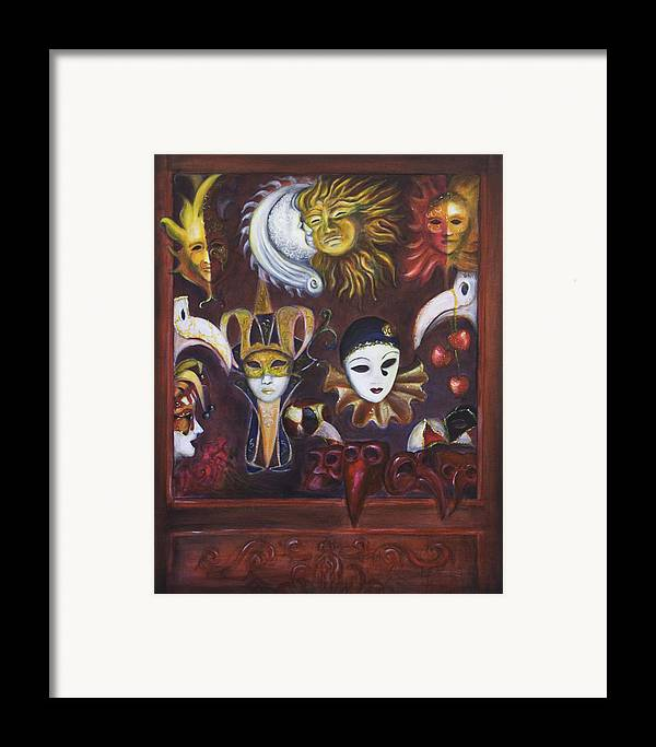 Masks Framed Print featuring the painting Making Faces II by Nik Helbig