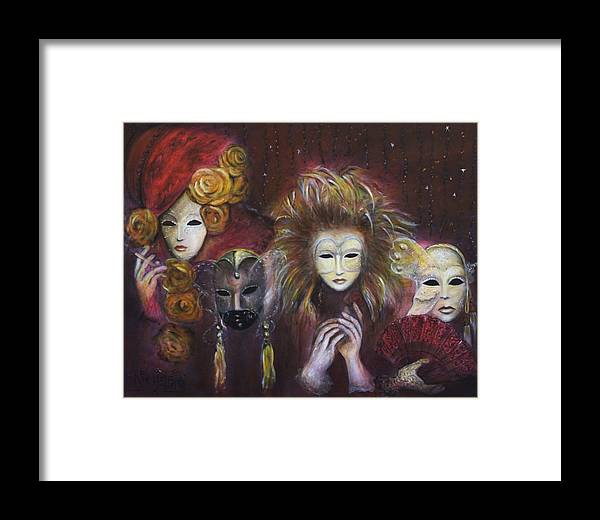 Masks Framed Print featuring the painting Making Faces Vi by Nik Helbig