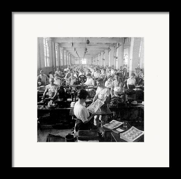 washington Dc Framed Print featuring the photograph Making Money At The Bureau Of Printing And Engraving - Washington Dc - C 1916 by International Images