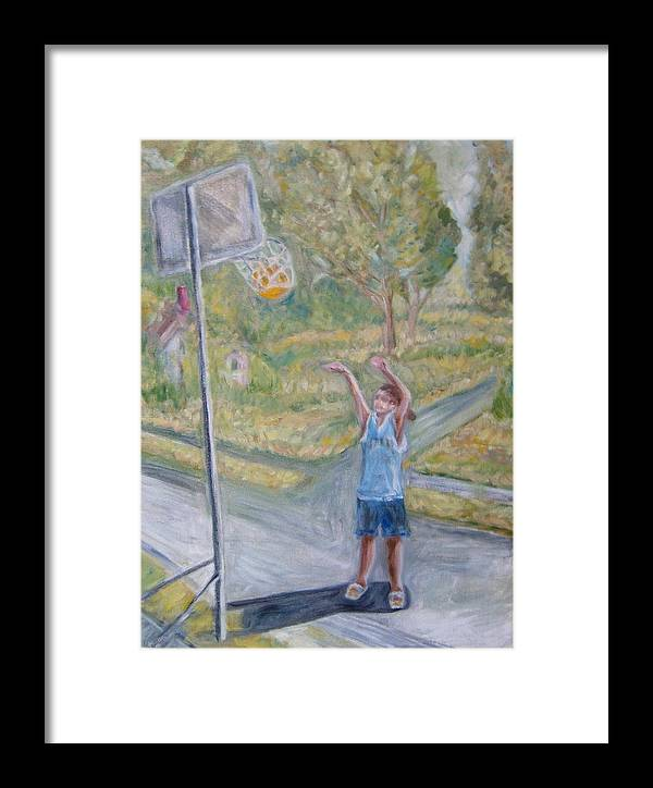 Basketball Landscape Portrait  Framed Print featuring the painting Making The Point by Joseph Sandora Jr