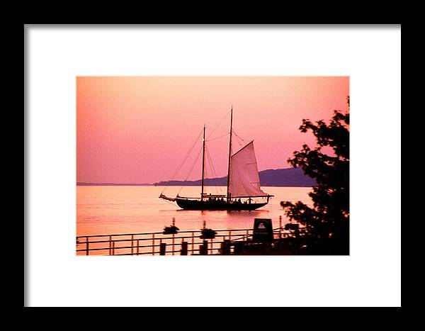 America's Cup Framed Print featuring the photograph Malabar X Sailboat At Sunset by Roger Soule
