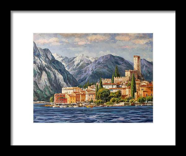 Gardasee Framed Print featuring the painting Malcesine Castle, Lago Di Garda by Lucio Campana