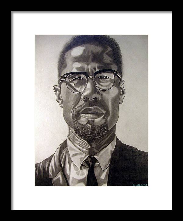 Pencil Framed Print featuring the drawing Malcom X by Nick H
