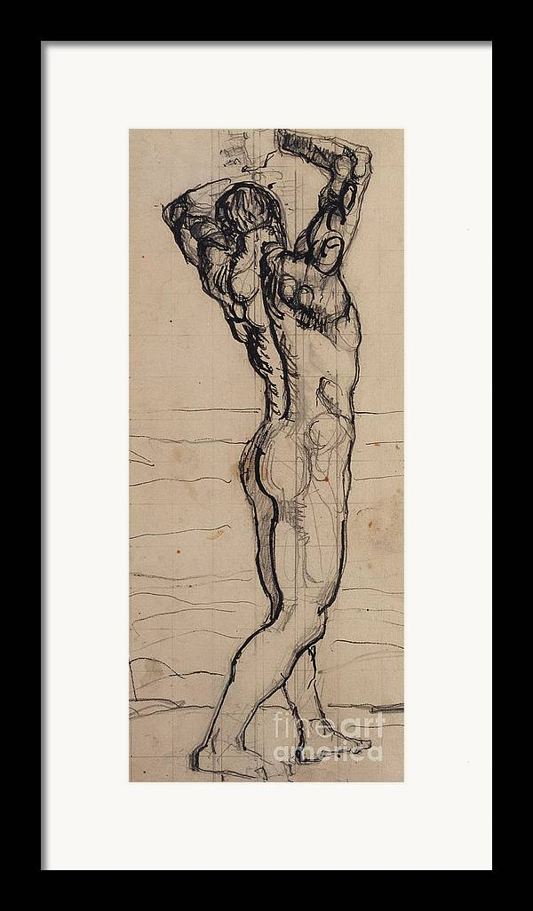 Drawing; Nude; Back View; Stretching; Standing; Full Length; Symbolist; Pen Framed Print featuring the drawing Male Act  Study For The Truth by Ferdninand Hodler