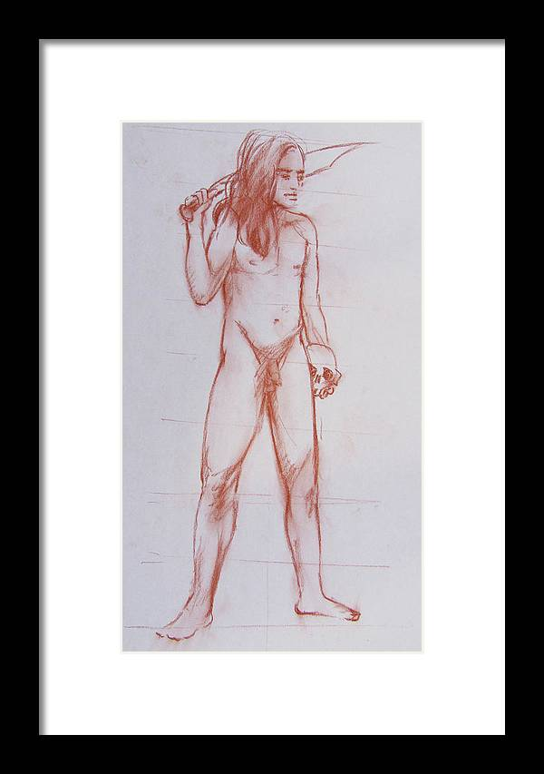 Male Framed Print featuring the drawing Male Model 18 by Markus Neal Humby