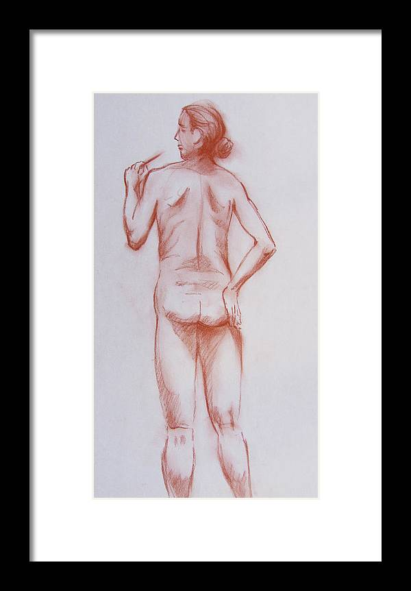 Male Framed Print featuring the drawing Male Model 19 by Markus Neal Humby