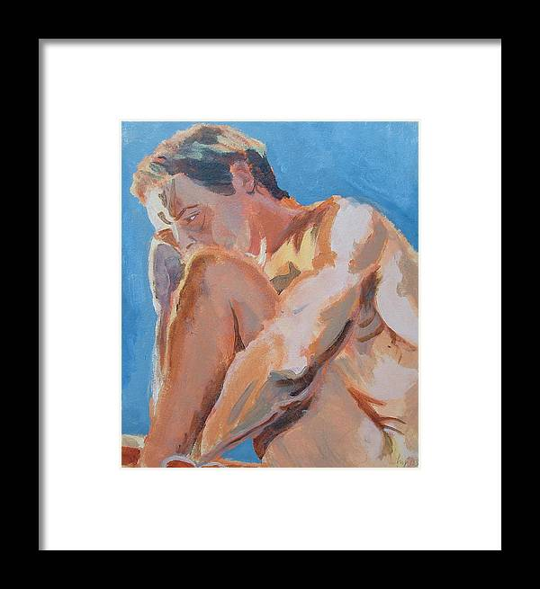 Male Nude Framed Print featuring the painting Male Nude Painting by Mike Jory