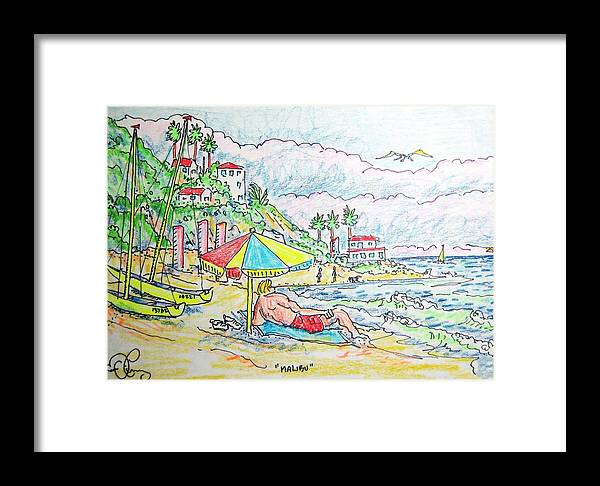 Beach Framed Print featuring the painting Malibu by Robert Findley