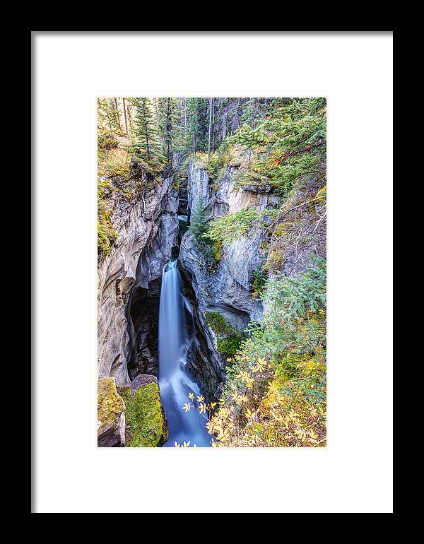Maligne Canyon Framed Print featuring the photograph Maligne Canyon Waterfall by Pierre Leclerc Photography