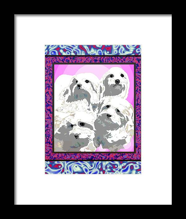 Maltese Group Framed Print featuring the digital art Maltese Group by Kathleen Sepulveda