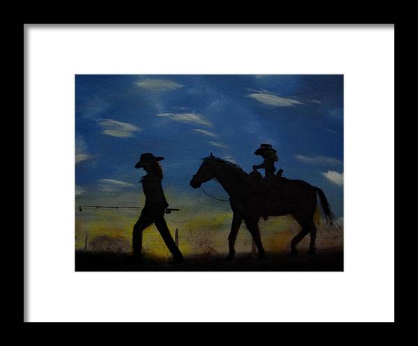 Horse Framed Print featuring the painting Mama And Daughter Going Fishing by Edgar Verdin
