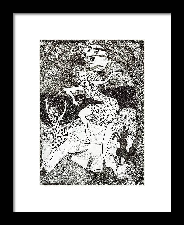 Pen And Ink Framed Print featuring the drawing Mama Did The Moon Dance by Todd Peterson