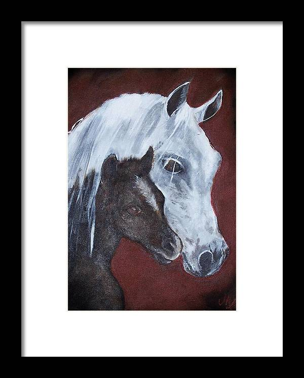 Horse Framed Print featuring the painting Mama by Martha Mullins