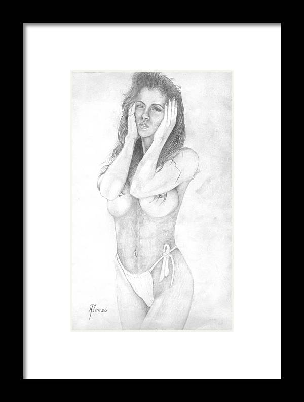 Nudes Framed Print featuring the painting Mami Chula by Benito Alonso