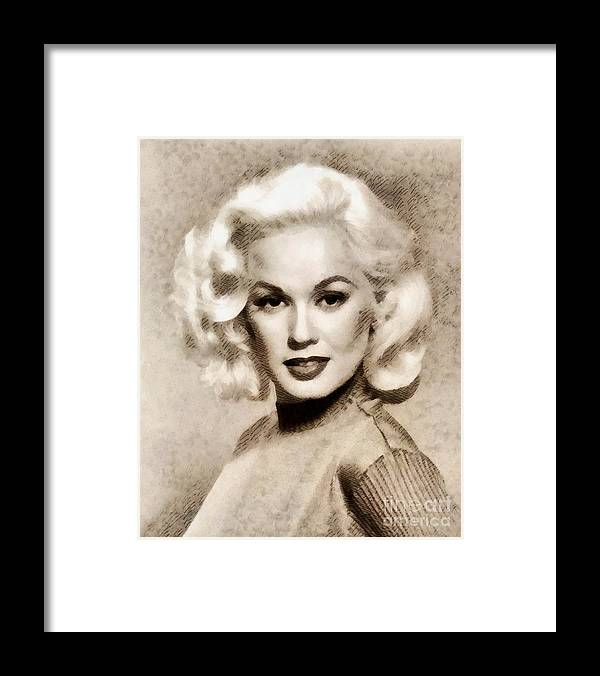 Hollywood Framed Print featuring the painting Mamie Van Doren, Vintage Actress And Pinup by John Springfield