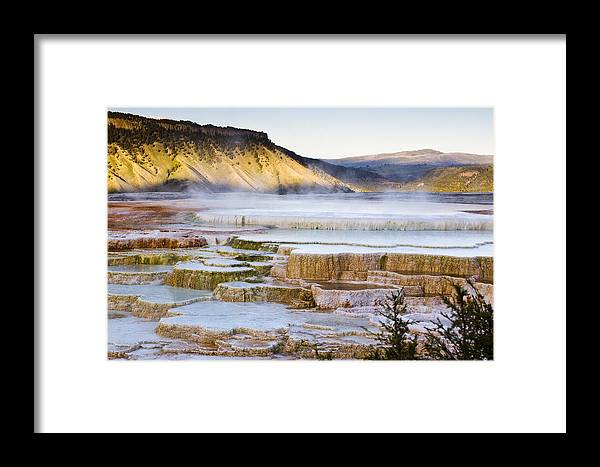 Chad Davis Framed Print featuring the photograph Mammoth Hot Springs by Chad Davis