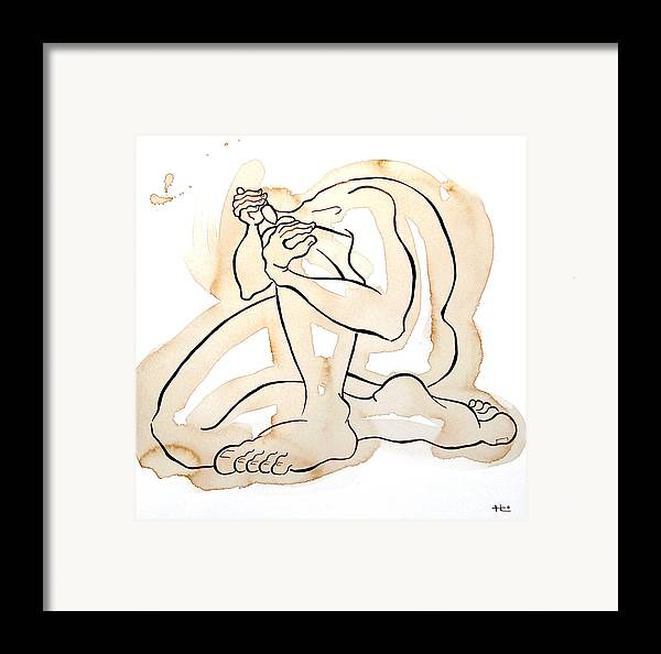 Body Framed Print featuring the painting Man 12 From When The Body Talks by Son Of the Moon