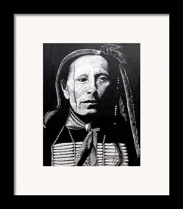 Portrait Framed Print featuring the drawing Man Afraid Of His Horses by Wade Clark
