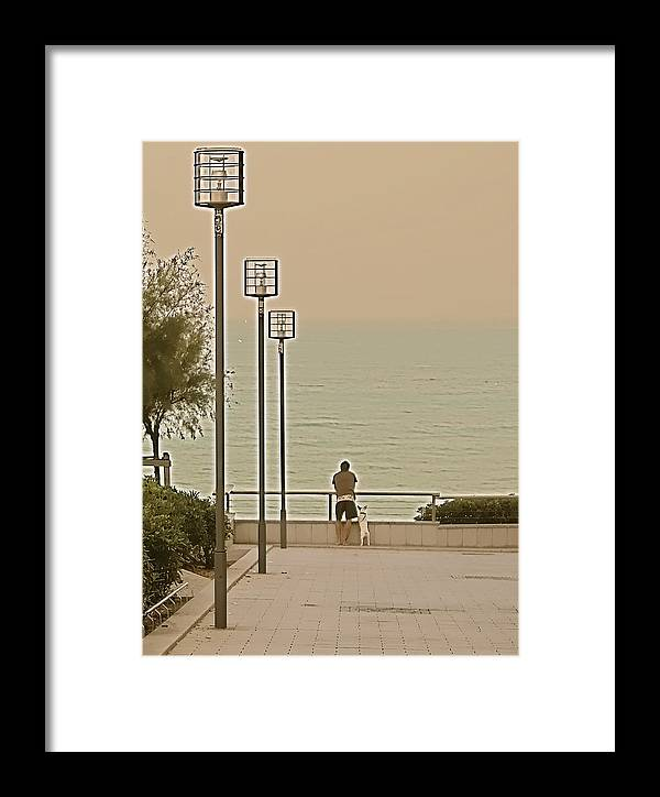 Man Framed Print featuring the painting Man And Best Friend by Louise Fahy