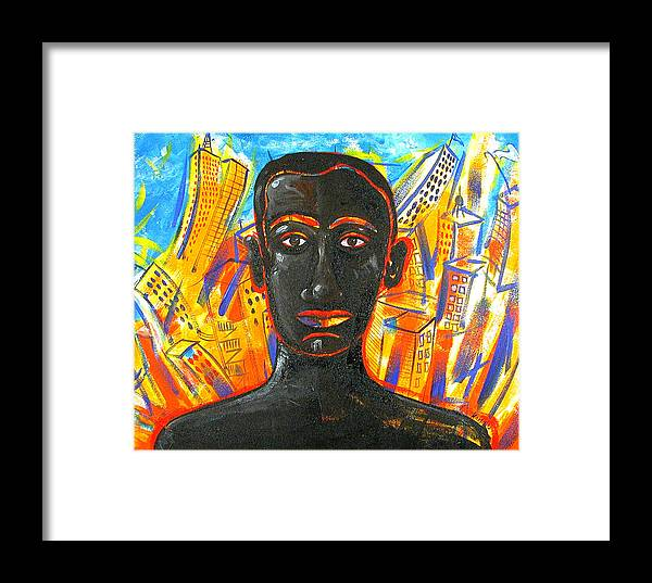 Man Framed Print featuring the painting Man And The City by Rollin Kocsis