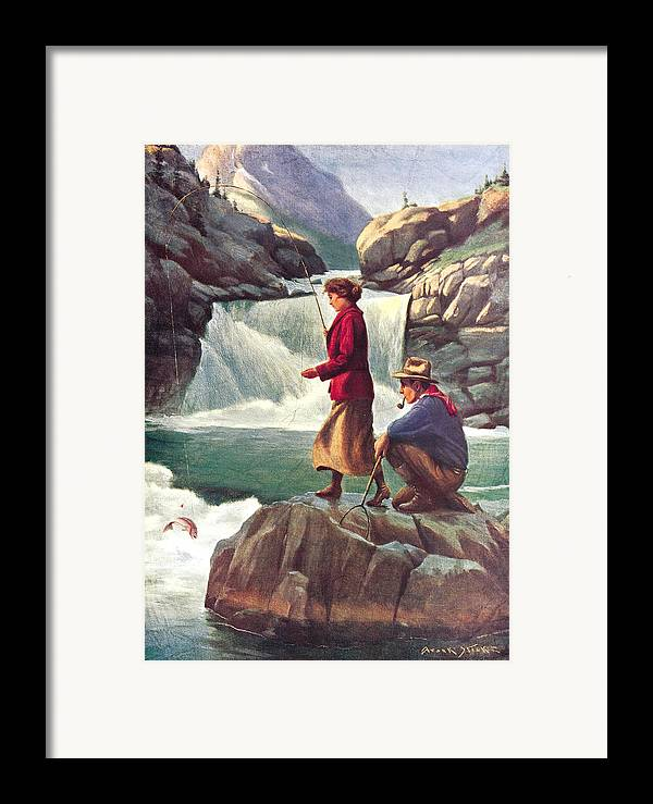 Phillip Goodwin Framed Print featuring the painting Man And Woman Fishing by JQ Licensing