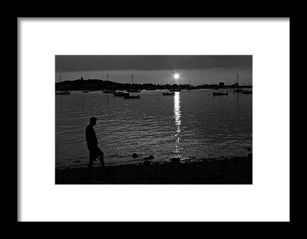 Black And White Framed Print featuring the photograph Man At Sunset by Gene Sizemore