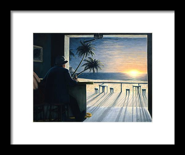 Sunset Framed Print featuring the painting Man at the Bar by Lance Anderson