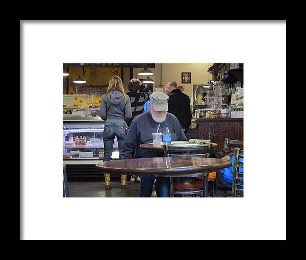 Old Framed Print featuring the photograph Man Does Not Notice Woman Behind Him by David Lovins