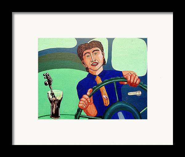 Surreal Fantasy Portraits Framed Print featuring the print Man Driving With Coke by Paul Knotter