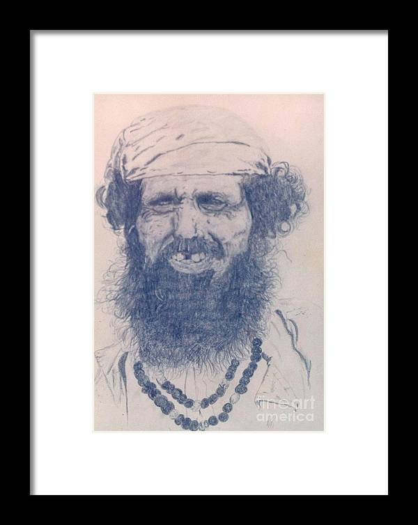 Pencil Portrait Framed Print featuring the drawing Man From Madigascar by Ron Bissett