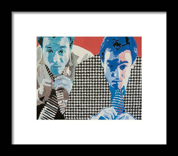 Portrait Framed Print featuring the painting Man In A Houndstooth Suit by Pete Nawara