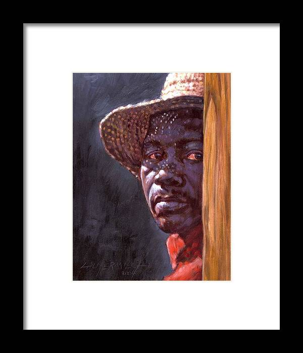 Black Man Framed Print featuring the painting Man In Straw Hat by John Lautermilch