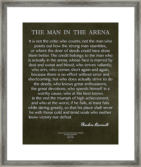 Women Arena Quotes: Man In The Arena On Black Chalk Board Roosevelt Quote