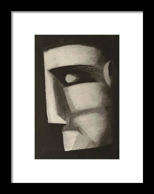 Charcoal Framed Print featuring the drawing Man In The Closet by Rick Stoesz
