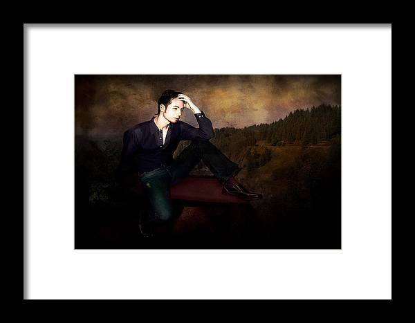 Men Framed Print featuring the photograph Man On A Bench by Jeff Burgess