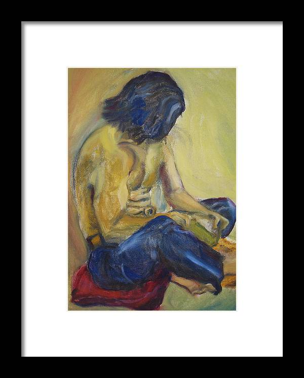 Male Framed Print featuring the painting Man Reading by Lessandra Grimley