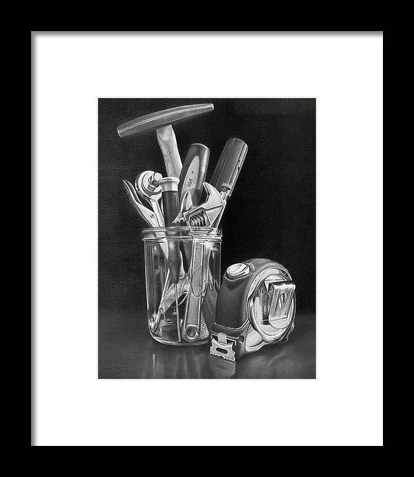 Tools Framed Print featuring the drawing Man Vase by Christopher Bracken