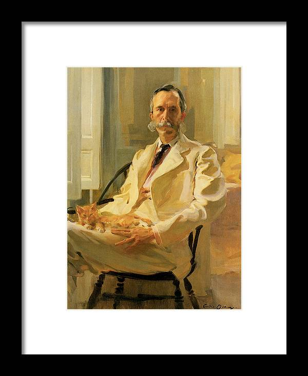 Cecilia Beaux Framed Print featuring the painting Man With Cat by Cecilia Beaux
