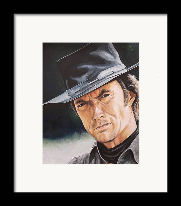 Cowboy Framed Print featuring the painting Man With No Name by Kenneth Kelsoe