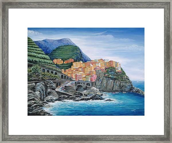 Manarola Cinque Terre Italy Framed Print By Marilyn Dunlap