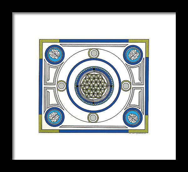 Mandala Framed Print featuring the drawing Mandala Anese by J P Lambert