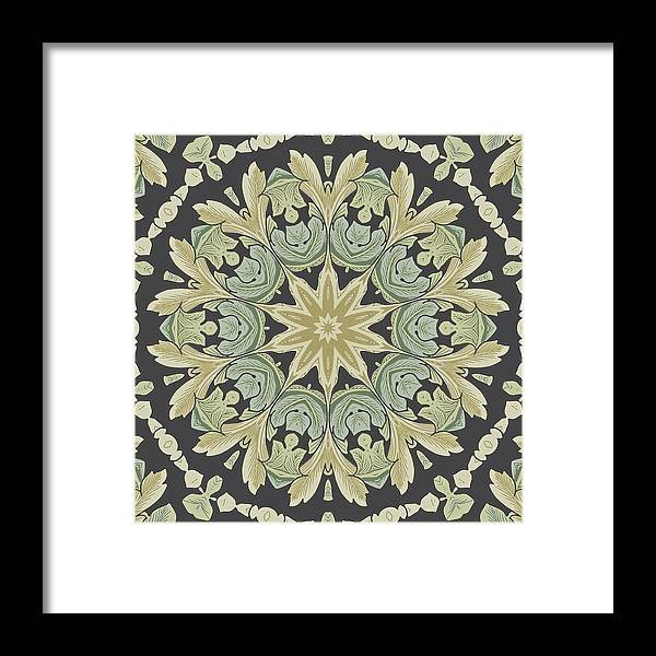 Green Framed Print featuring the digital art Mandala Leaves In Pale Blue, Green And Ochra by Taiche Acrylic Art