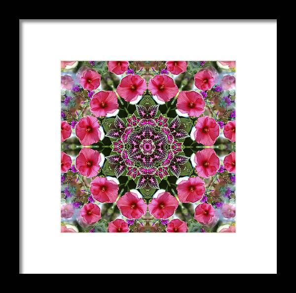 Mandala Framed Print featuring the digital art Mandala Pink Patron by Nancy Griswold
