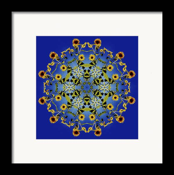 Mandala Framed Print featuring the digital art Mandala Sunflower by Nancy Griswold