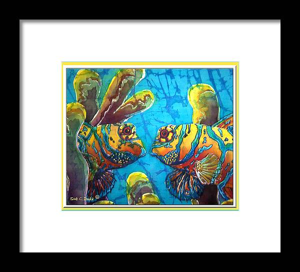 Mandarinfish Framed Print featuring the painting Mandarinfish- Bordered by Sue Duda