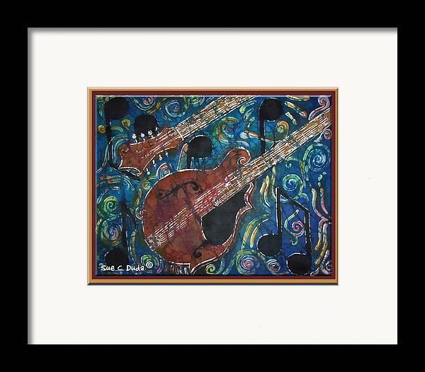 Mandolin Framed Print featuring the painting Mandolin - Bordered by Sue Duda