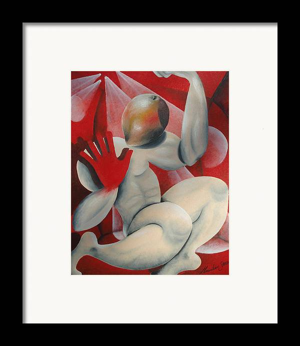 Hand Framed Print featuring the painting Mango Head by Massimiliano Stanco