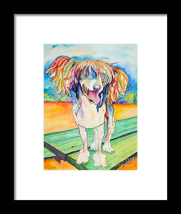 Chinese Crested Framed Print featuring the painting Mango Salsa by Pat Saunders-White
