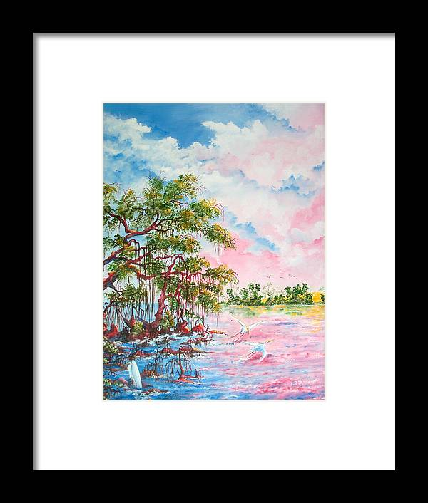 Landscapes Framed Print featuring the painting Mangroves by Dennis Vebert