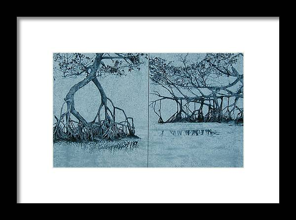 Blue Framed Print featuring the painting Mangroves by Leah Tomaino